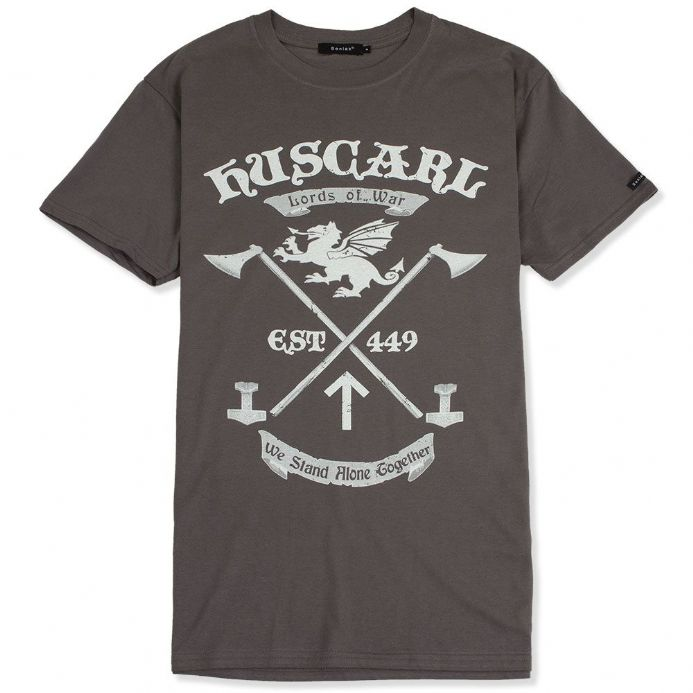 Huscarl Lords of War charcoal Anglo-Saxon t-shirt with Senlak branded sleeve tab